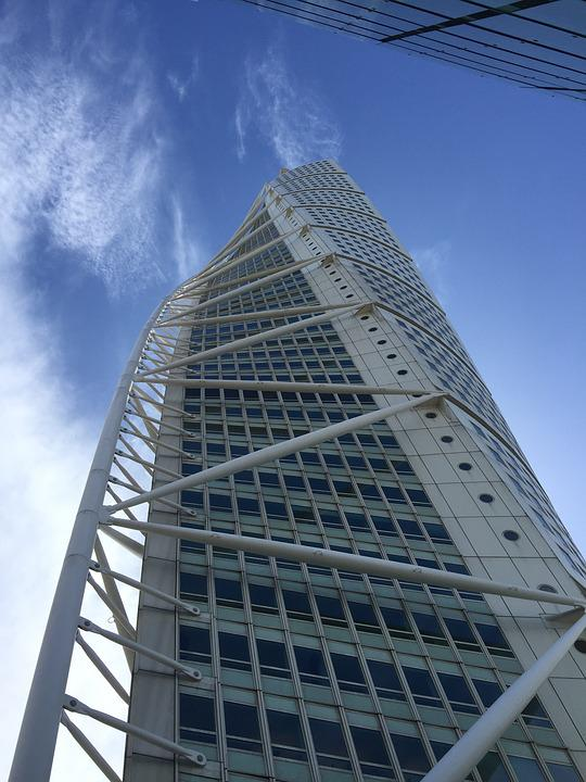 Sweden, High, Building, Turning Torso, Tower, Sky, Tall