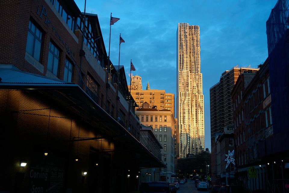 Sunrise, Morning, Spruce Street, Skyscraper, Building
