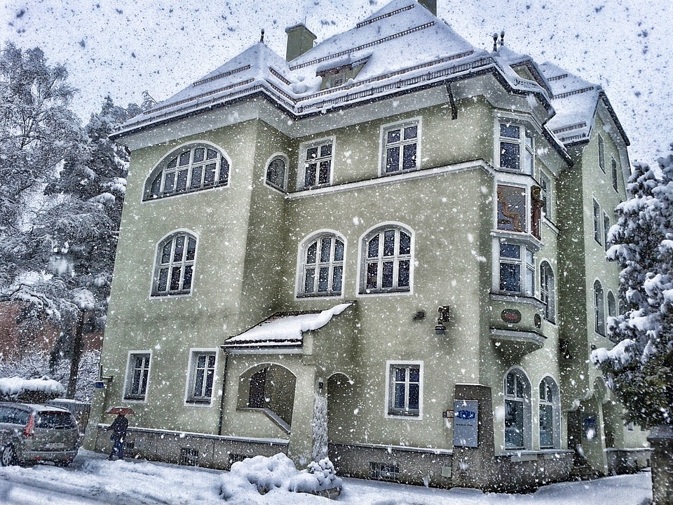 Austria, Winter, Snow, Snowing, Building, Architecture