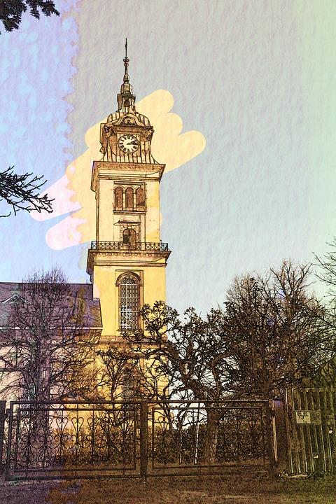 Steeple, Church, Building, Chemnitz, Saxony, Old