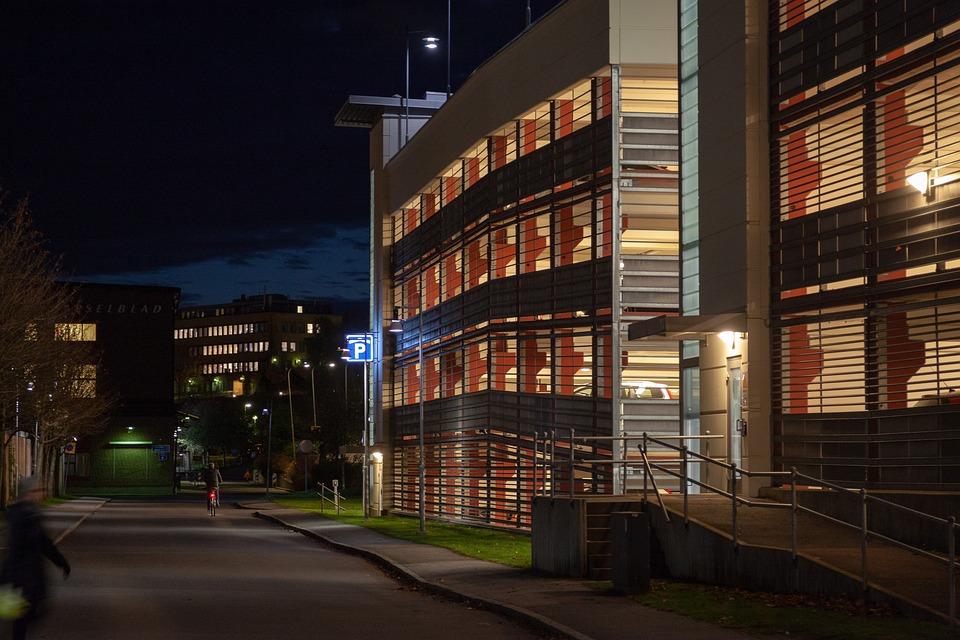 The Parking Garage, Parking, Concrete, Building, Night