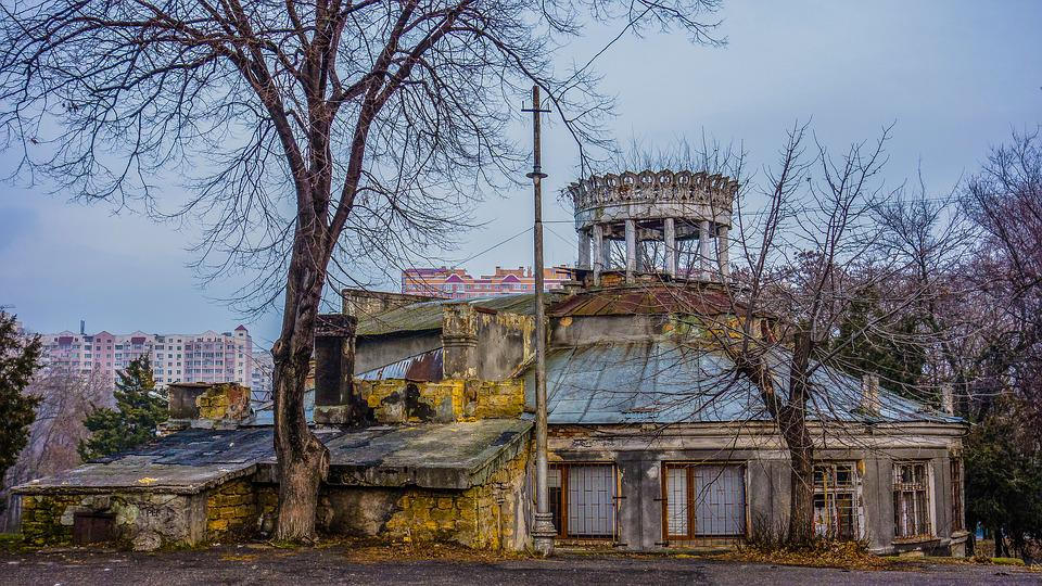 Odessa, Park, Building, The Ruins Of The, Tree