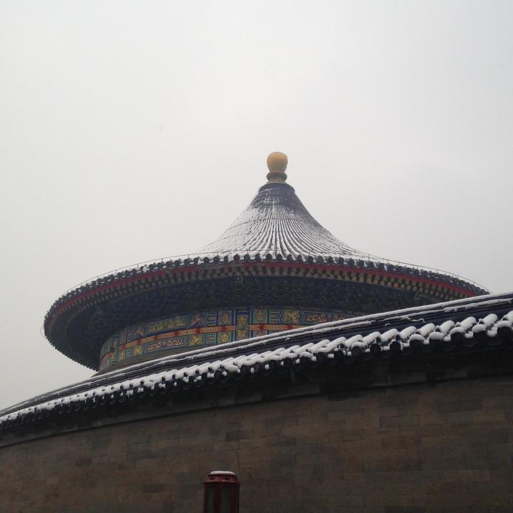 The Temple Of Heaven, Snow, Building, Chinese Style