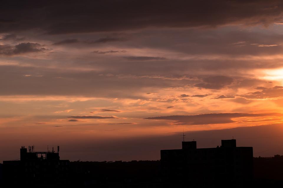 City, Night, Of The City, Building, Evening, Twilight