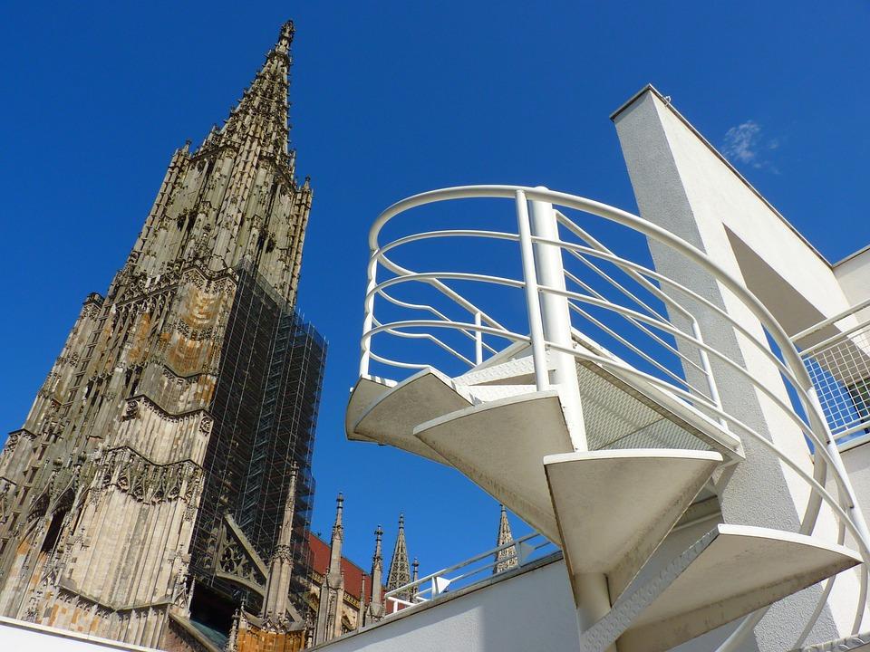 Ulm Cathedral, Building, Church, Head, Blue, Sky