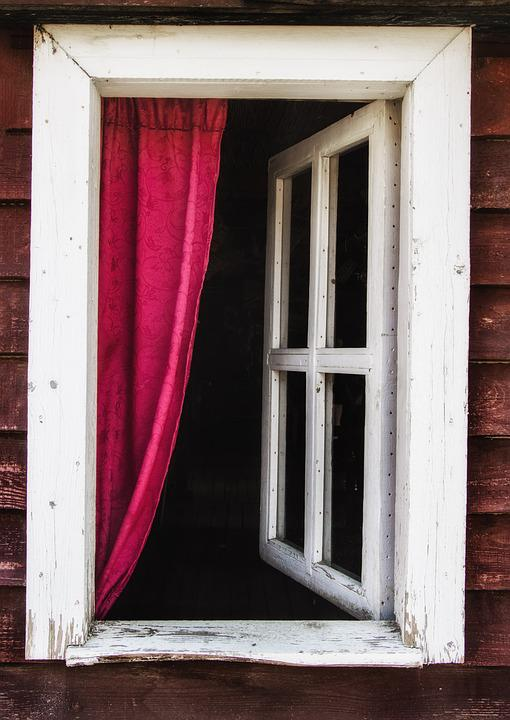 Window, Curtain, Old, Architectural, Building, Glass