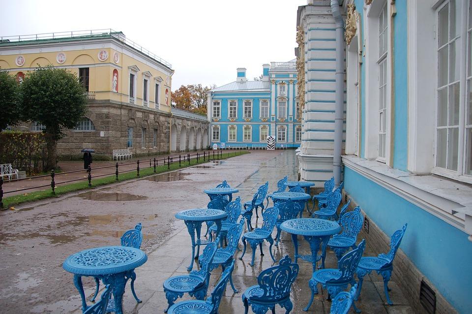 Buildings, St Petersburg, Travel, Blue Chairs