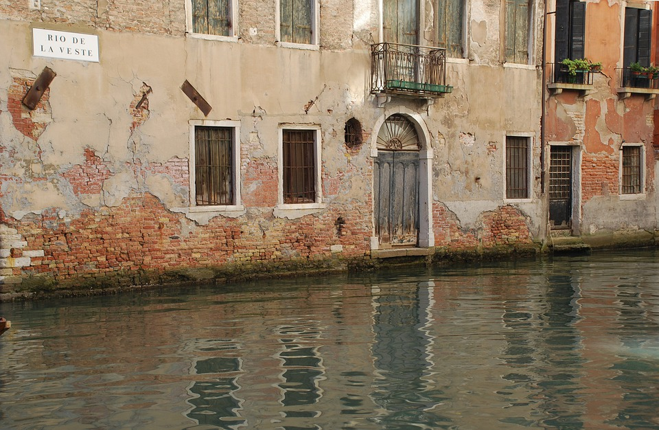 Venice, Street, Canal, Buildings, Balcony, Doorway