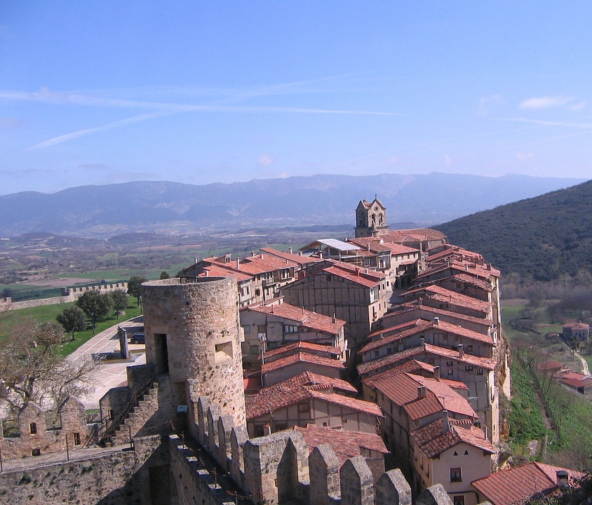 Spain, Mountains, Castle, Buildings, Church