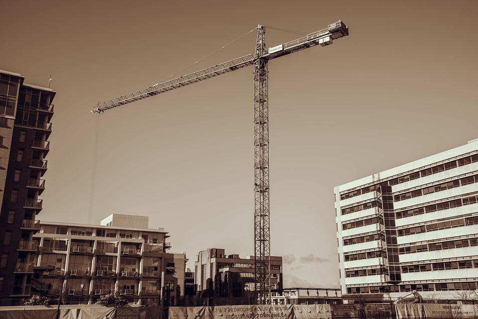 Crane, Construction, Sepia, Buildings, Victoria, Bc