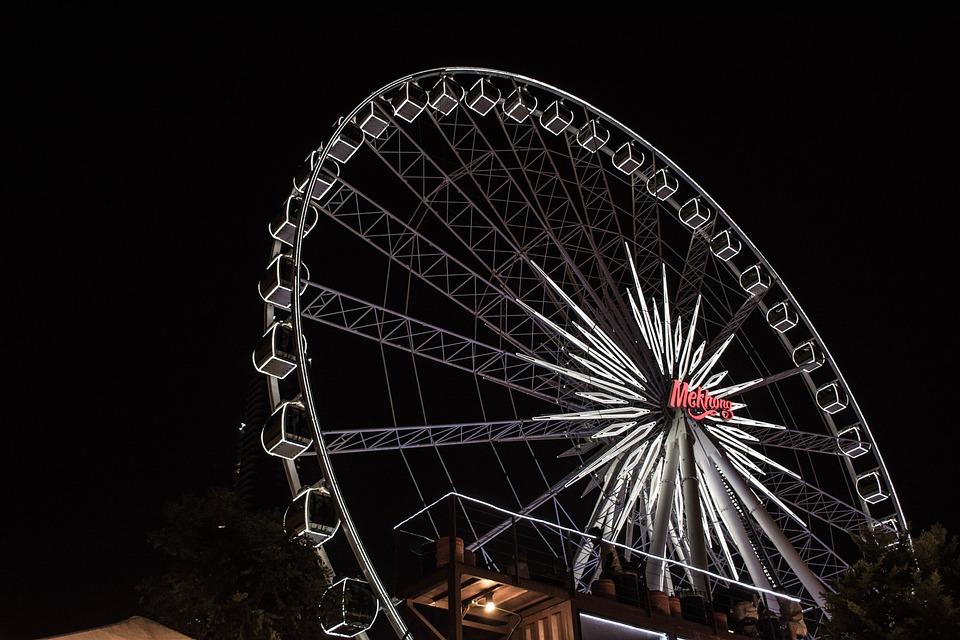 Building, Light, Ferris Wheel, Cool, Sky, Buildings