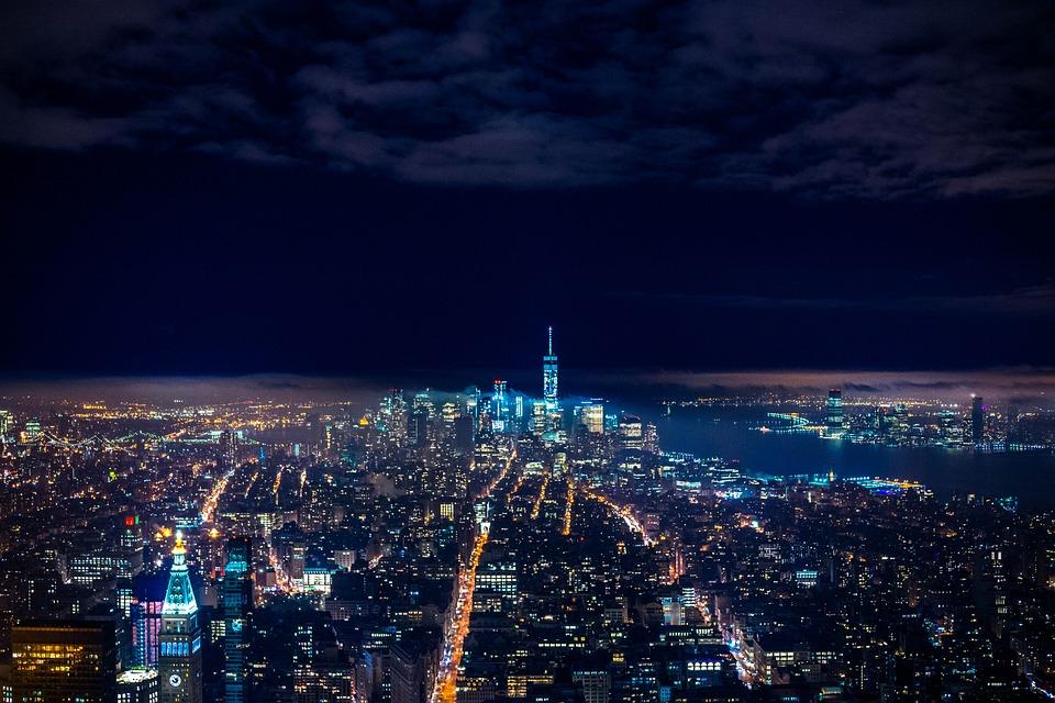 Skyline, Buildings, Illuminated, City Lights, Urban