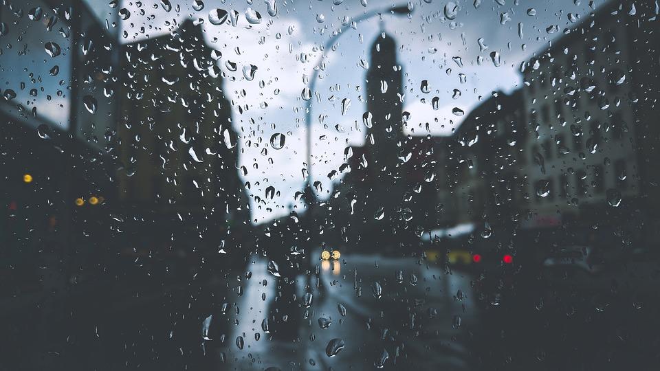 Buildings, Droplets, Drops, Glass, Lamppost, Liquid