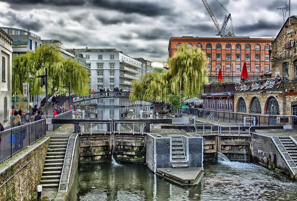 London, England, Buildings, Lock, Canal, Water, People