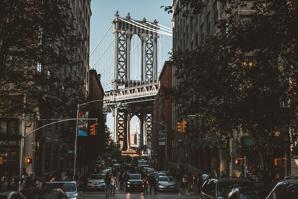 Bridge, Road, Buildings, New York, Manhattan, Landmark