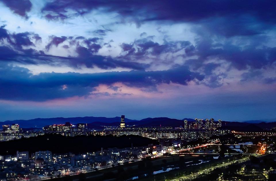 Buildings, Lights, Rooftops, Terrace, City, Night