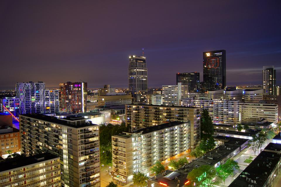 Rotterdam, Cityscape, Night, Long Exposure, Buildings