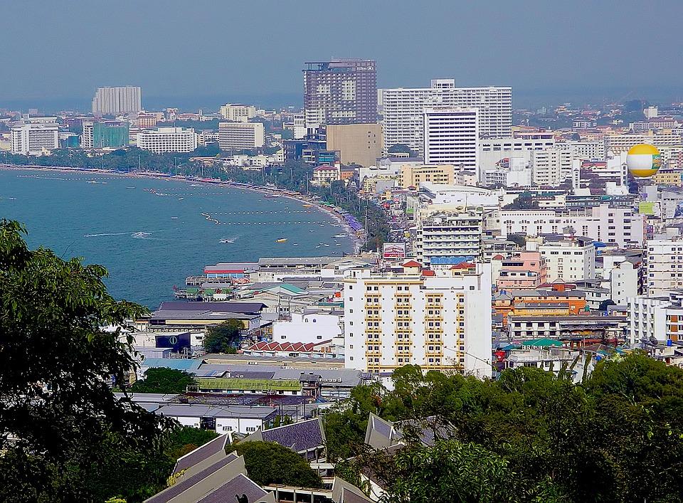 City, Shoreline, Beach, Sea, Seaside, Buildings