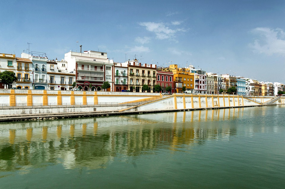 Seville, Spain, Buildings, Canal, River, Waterway