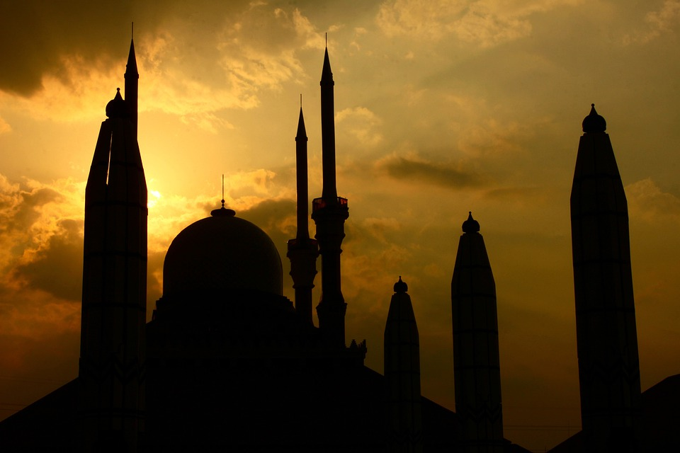 Buildings, Mosque, Sunset, Silhouette, Indonesia