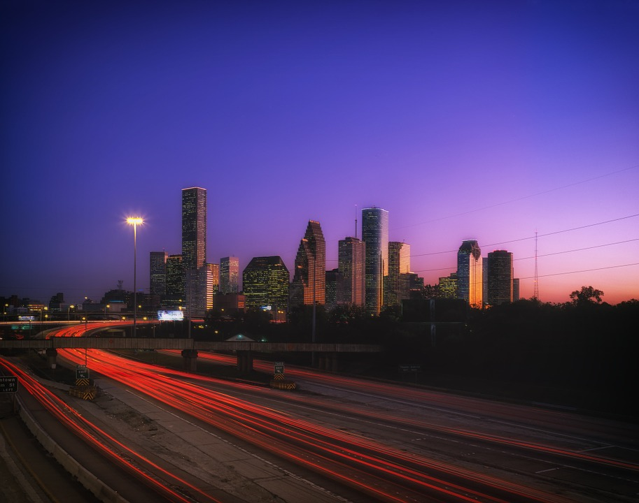 Houston, Texas, Sunset, Sky, Buildings, Urban