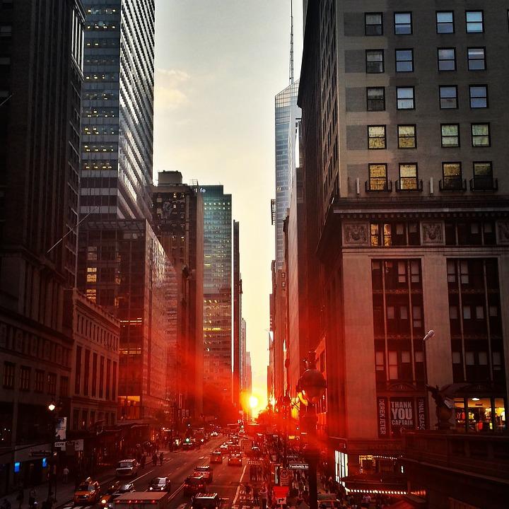 City, Manhattan, Sunset, Town, Buildings, Skyscrapers