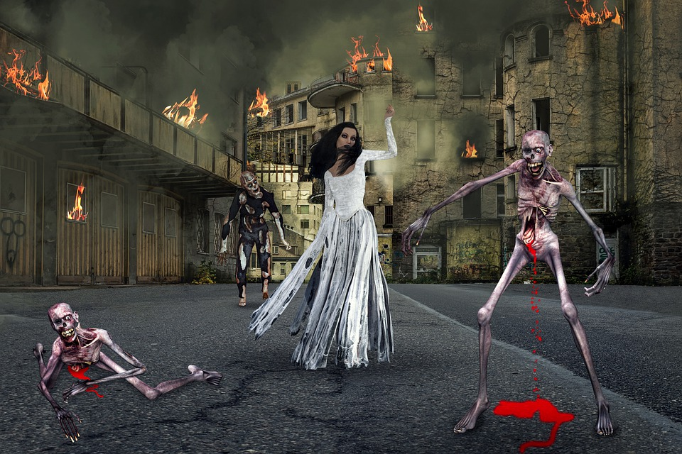 Zombie, Town, Woman, Buildings, Fire, Smoke, Highway
