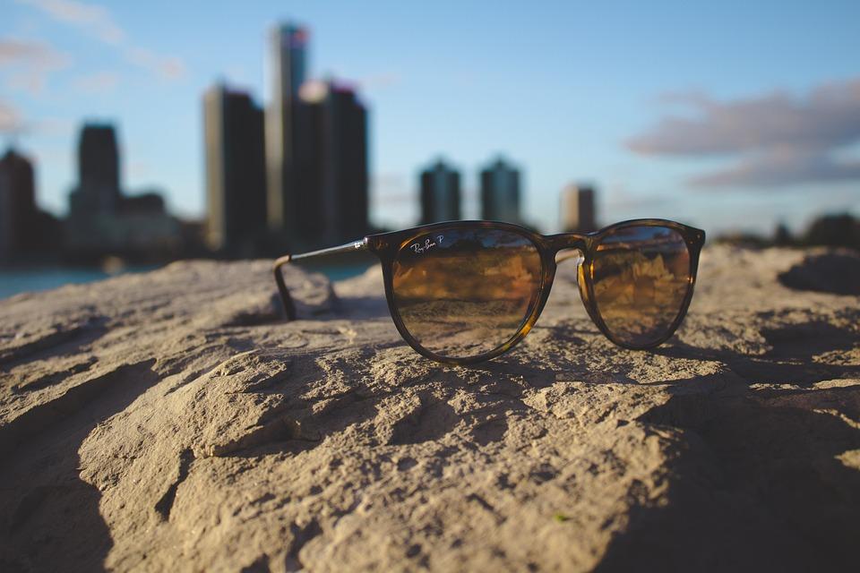 Buildings, Macro, Rock, Sunglasses, Water