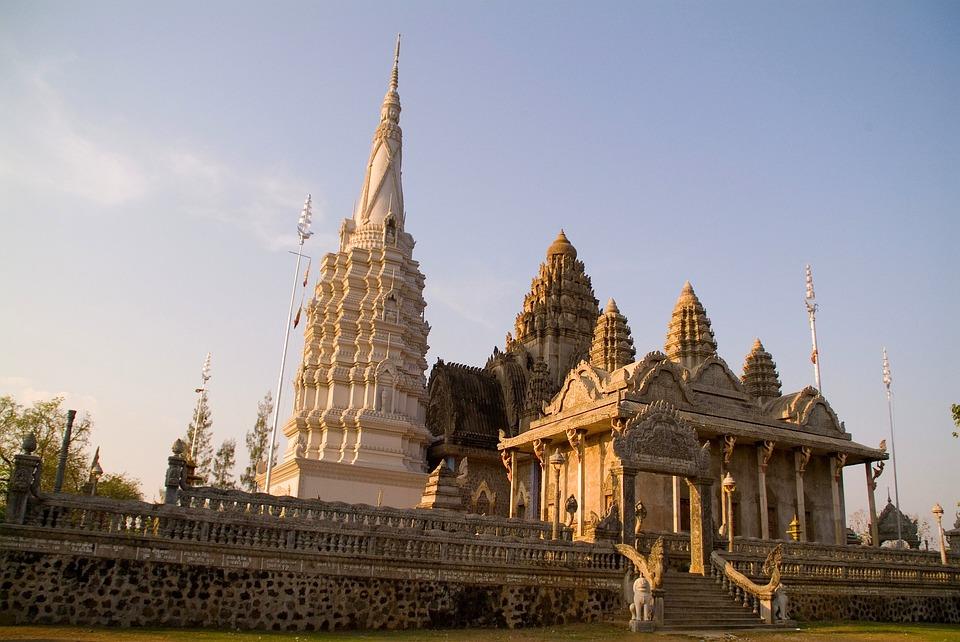 Cambodia, Temple, Buildings, Sky, Clouds, Urban