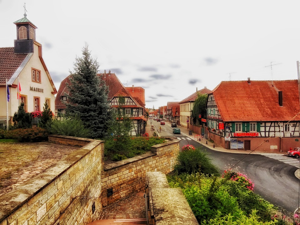 Betschdorf, France, Village, Town, Buildings