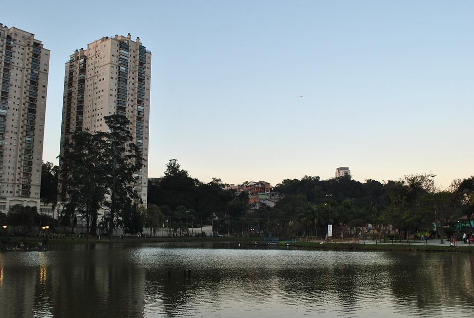 Park, Lake, Trees, Sky, Buildings