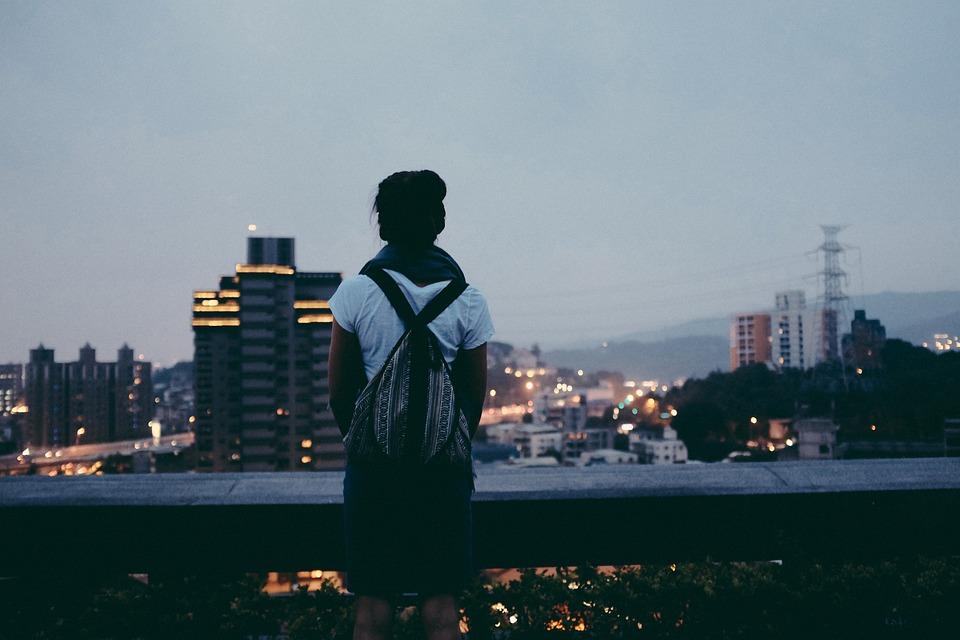 Girl, Looking, City, Buildings, Urban, People, Lookout