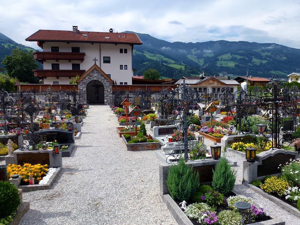 Uderns, Austria, Buildings, Village, Cemetery, Flowers