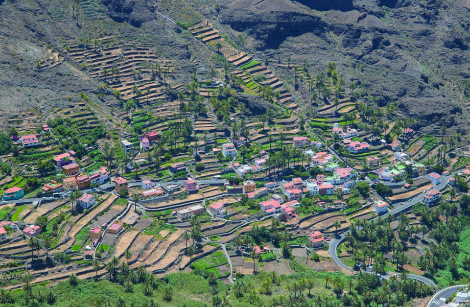 Buildings, Houses, Village, Hills, Trees, Agriculture