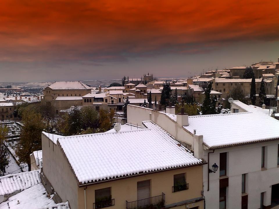 Toledo, Spain, City, Winter, Snow, Rooftops, Buildings