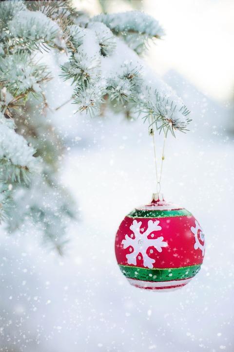 Christmas Ornament, Bulb, Snowy Tree, Pine, Spruce