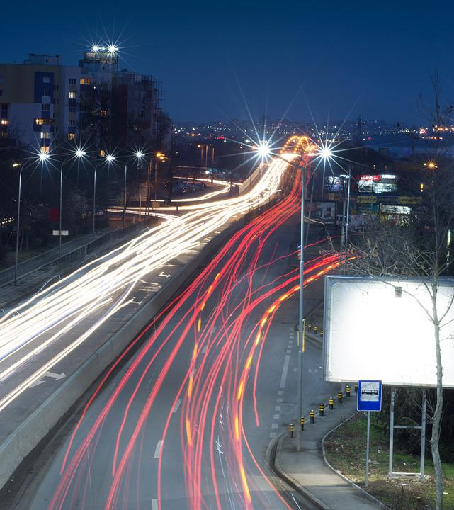 Burgas, Night, Traffic, Landscape, Bulgaria, Black