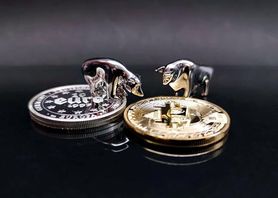 Bull, Bear, Euro, Bitcoin, Crypto-currency, Btc