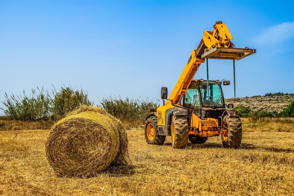 Heavy Machine, Yellow, Bulldozer, Vehicle, Bale, Farm