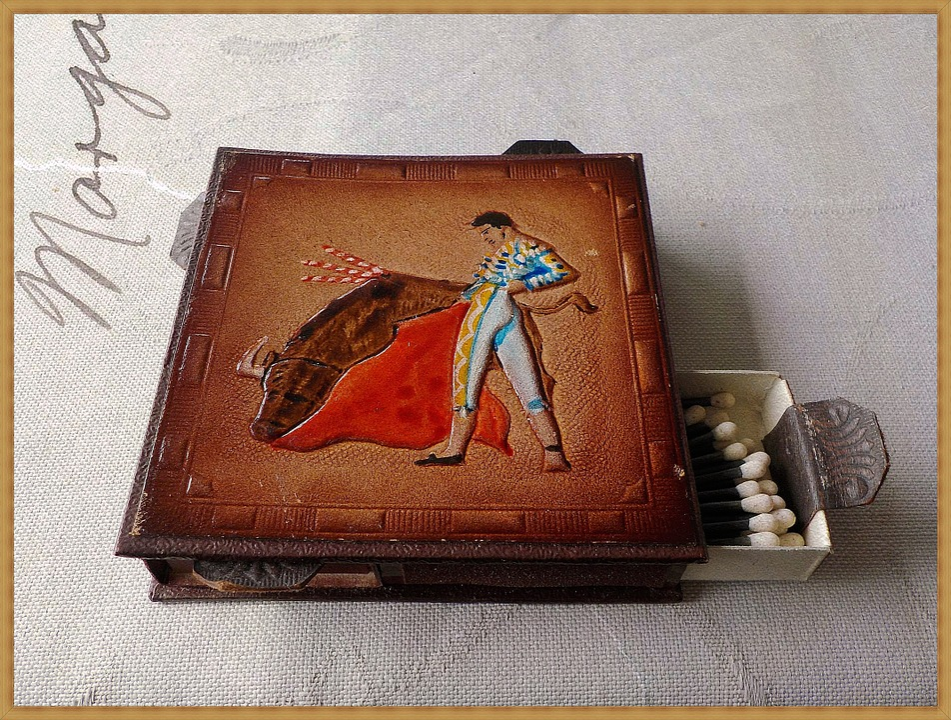 Sticks, Box, Leather, Antique, Bullfighter
