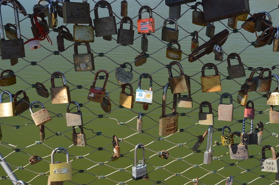 Lock, Clasps, Bridge, Padlock, Love, In Love, Bunch