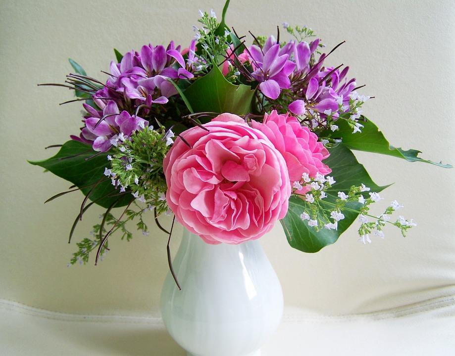 Bunch Of Flowers, Purple-pink Flowers, Cut Flower