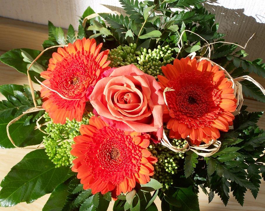 Bunch Of Flowers, Red Gerbera, Cut Flower