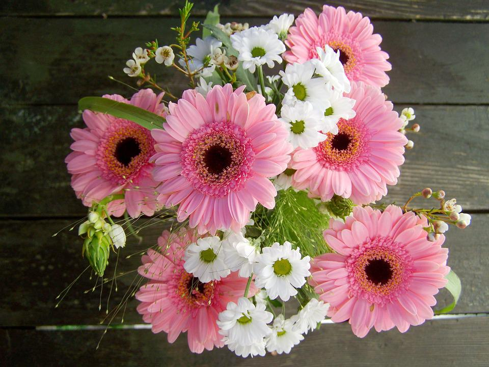 Bunch Of Flowers, Pink And White Flowers, Gerbera