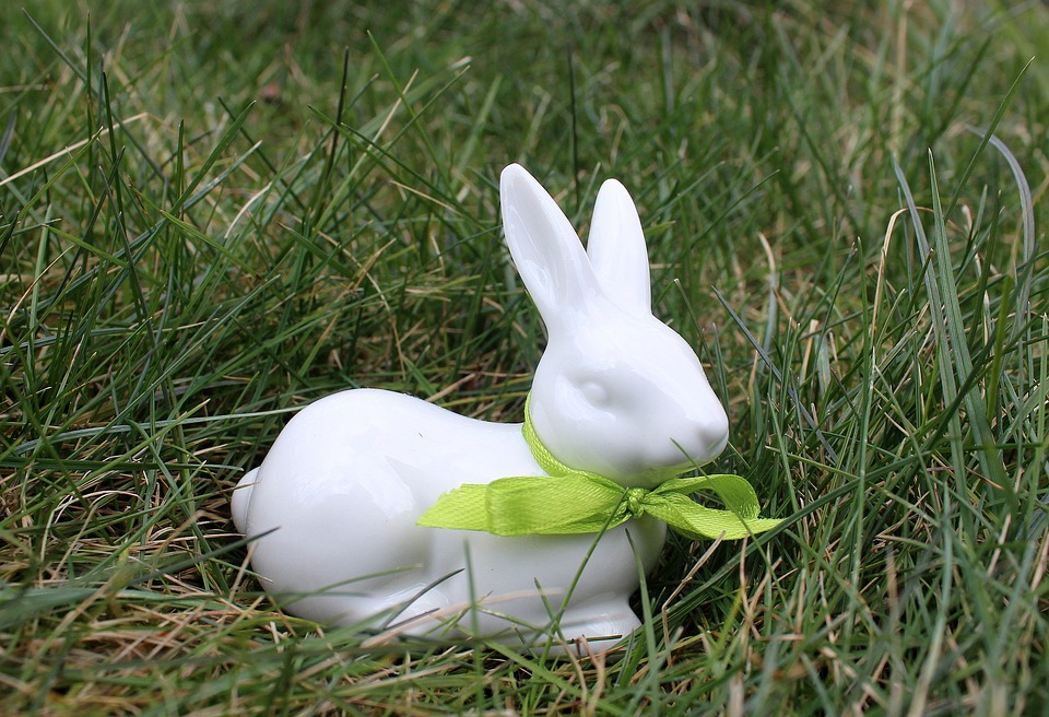 Bunny, The Figurine, China, Lawn, Nature, Easter