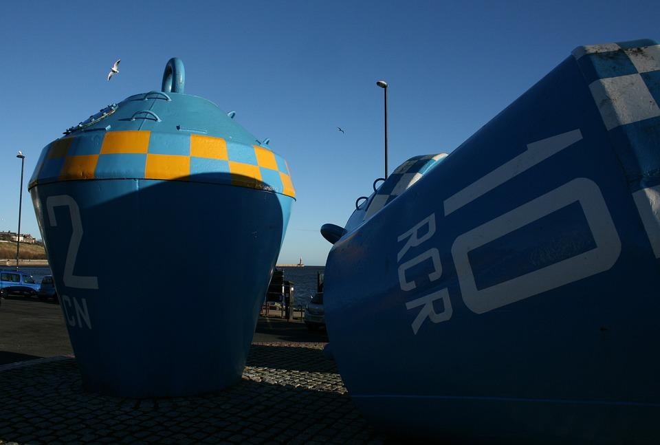 Buoys, Monument, Beach, Blue, Sea, Tide, Autumn