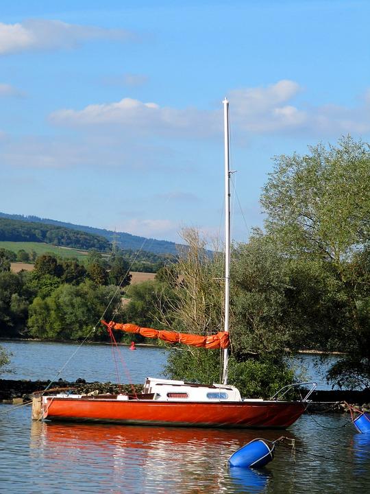 Sailing Boat, Sail, Orange, Old Rhine, Buoys Mooring