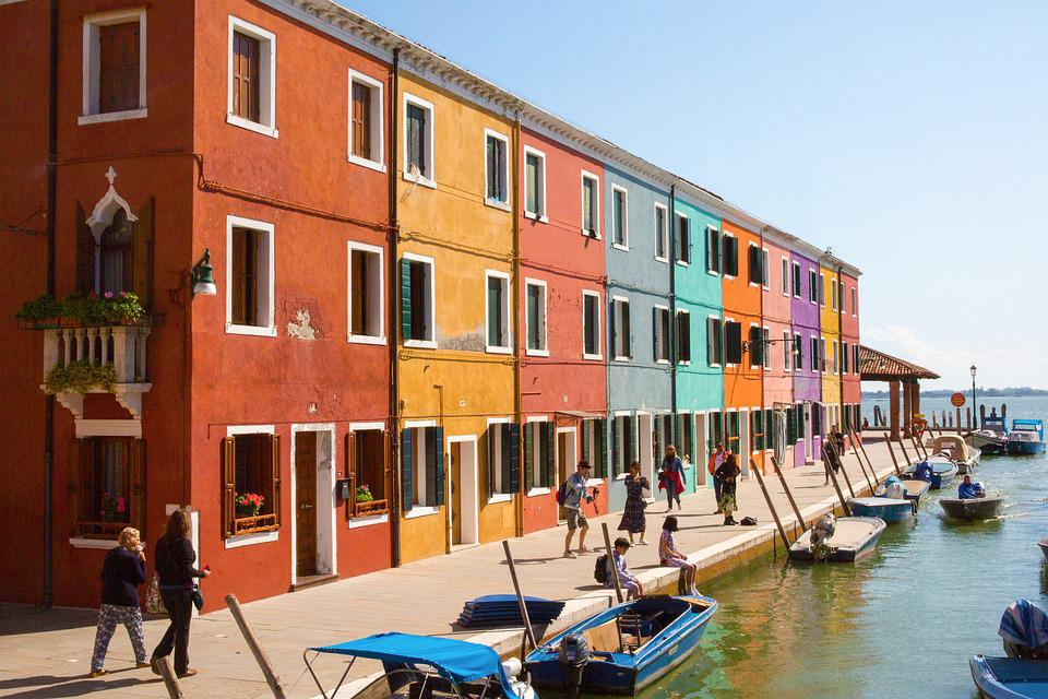 Channel, Burano, Italy, Water, Building, Architecture