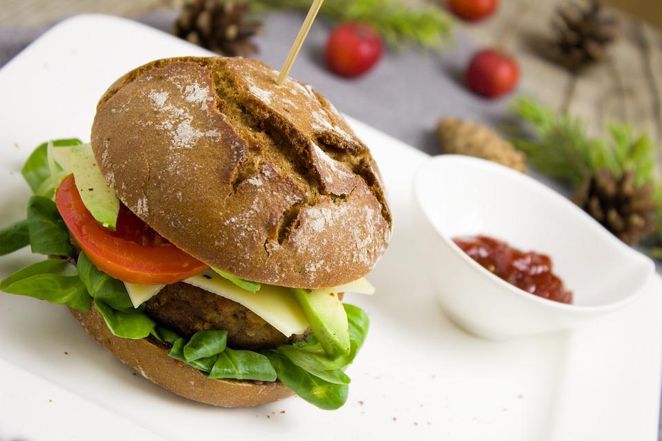 Burger, Tomato, Salad, Healthy, Vegetarian, Avocado