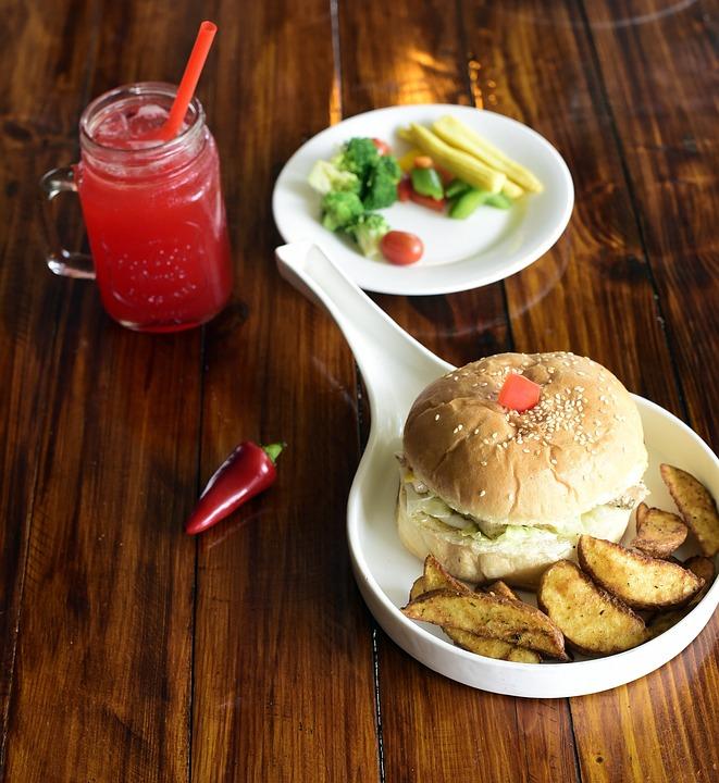 Burger, Potato Wedges, Lunch, Fries, Hamburger
